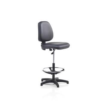Krzesło warsztatowe z podnóżkiem tapicerowane czarna tkaniną