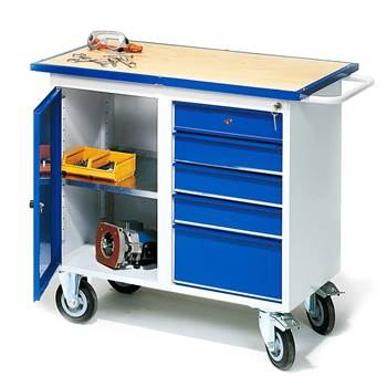 Flex mobile workbench, 5 drawers + 1 cabinet