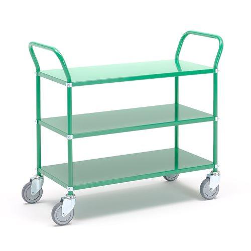 #en Table trolley 3 shelves, 900x440mm, green