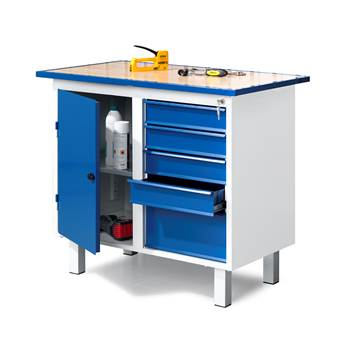 Flex fixed workbench, 5 drawers + 1 cabinet