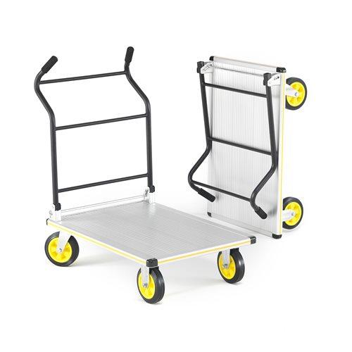 Składany wózek platformowy z poręcznym uchwytem.