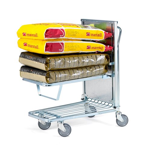 Trolley with spring loaded shelf