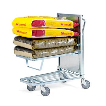 Trolley with spring loaded shelf, 300 kg load, 960x525x1030 mm