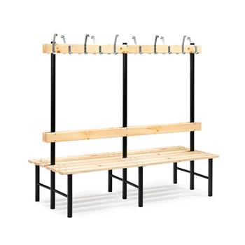 Stabil double bench, hook rail, 2000x780x1600 mm