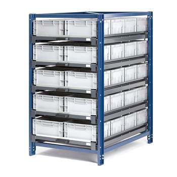 Regał przemysłowy, 5 półki, 150 kg, wysuw 100%, 40 pojemników