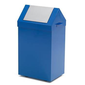 Swing lid refuse bin, 750x400x300 mm, 70L, blue