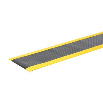 Safe work-station mat, per metre, W 600 mm, black, yellow