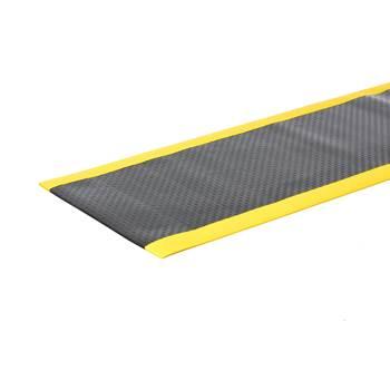 Arbetsplatsmatta, bredd: 910 mm, måttbeställd, svart, gul