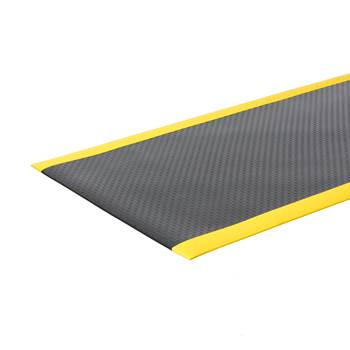 Safe work-station mat, per metre, W 1220 mm, black, yellow