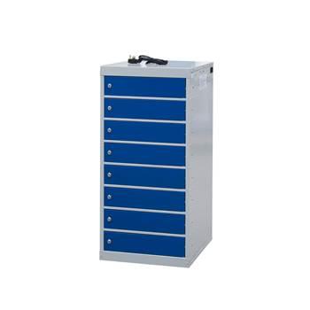 Charging laptop cabinet, 8 doors, 1000x500x500 mm, blue