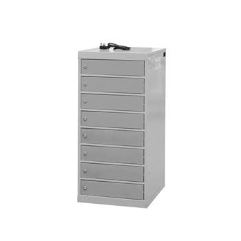 Charging laptop cabinet, 8 doors, 1000x500x500 mm, grey