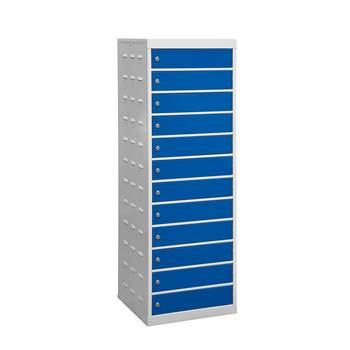 Charging laptop cabinet, 12 doors, 1460x500x500 mm, blue