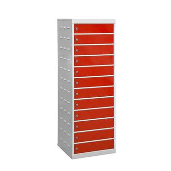 Charging laptop cabinet, 12 doors, 1460x500x500 mm, red