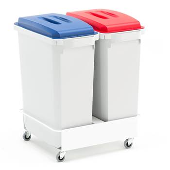 Package deal, 2x60 L refuse containers + lids (blue + red) + trolley