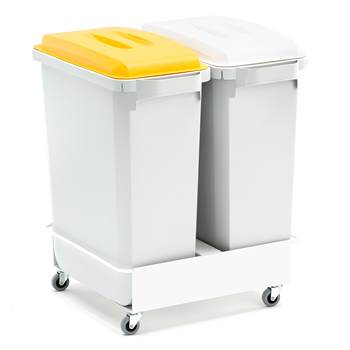 Package deal, 2x60L refuse containers + lids (yellow + white) + trolley