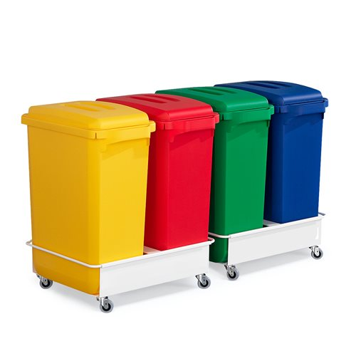 Avfallsbehållare med lock samt vagnar