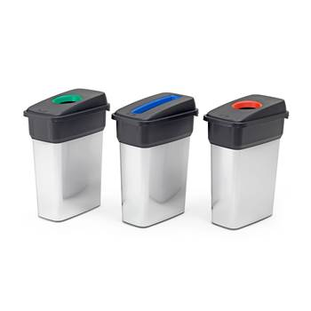Recycling waste sorting bins, 3 x 55 L bins