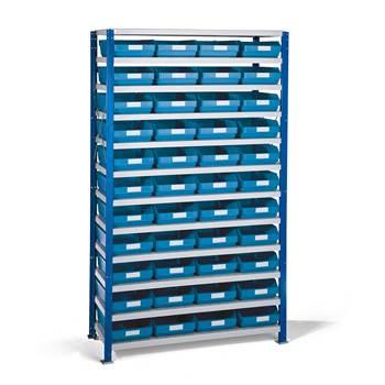 Smådelshylle Mix, 1740x1065x400 mm, blå bokser