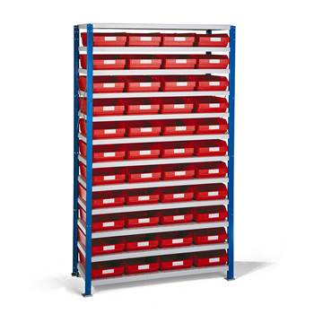Smådelsreol, 1740x1000x400 mm, røde plastbakker