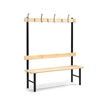 Stabil single bench, hook rail, 1500x400x1600 mm