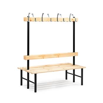 Stabil double bench, hook rail, 1500x780x1600 mm