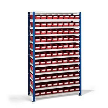 Smådelshylle Mix, 88 bokser, 1740x1065x400 mm, røde bokser