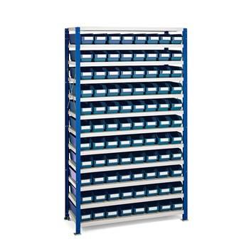 Smådelshylle Mix, 88 bokser, 1740x1065x300 mm, blå bokser