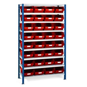 Smådelshylle Mix, 32 bokser, 1740x1065x400 mm, røde bokser