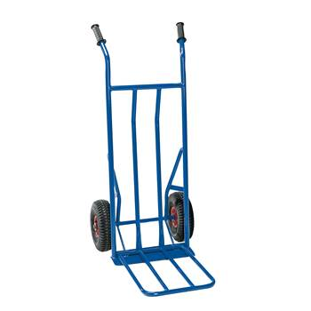 Budget warehouse cart, 250 kg load, pneumatic tyres, blue