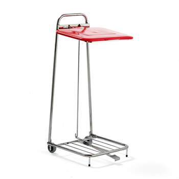 Refuse bag stand, 1050x430x450 mm, 125 L, red lid