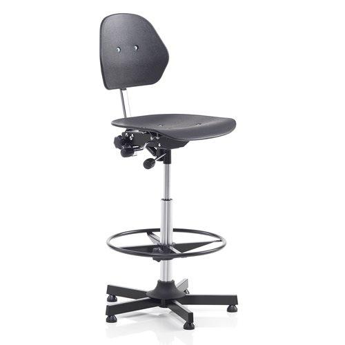 Krzesło warsztatowe z podnóżkiem z tworzywa sztucznego w kolorze czarnym