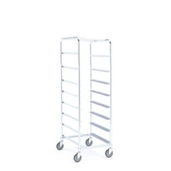 Tray trolley without bins, for 8 trays, 1880x460x590 mm
