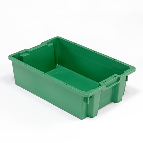 Muovilaatikko, pinottava, 32 litraa, 600x400x180 mm, vihreä