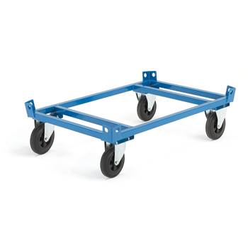 Low secure pallet trolley, Ø 200 mm rubber wheels, no brakes, 500 kg load