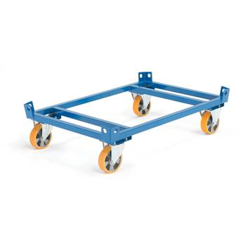 Low secure pallet trolley, Ø 160 mm PU wheels, no brakes, 1000 kg load