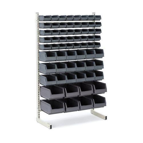 Storage bin rack: single: 66 bins