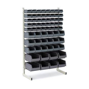 Storage bin rack, single, 66 bins