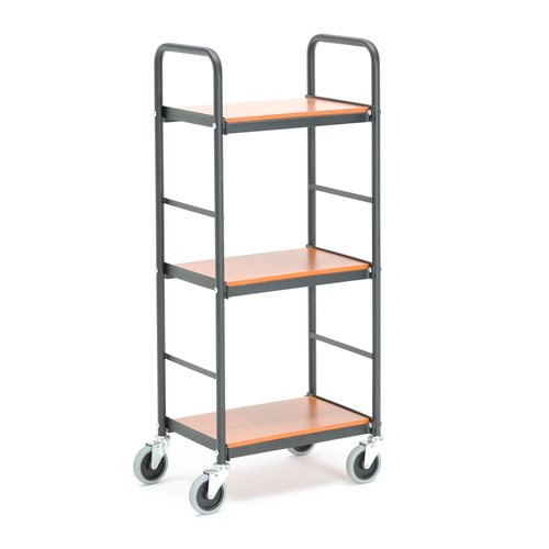 #en Filing trolley, 3 shelves, 430x275mm, black/cherry