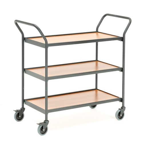 Table trolley with two handles: cherry laminate