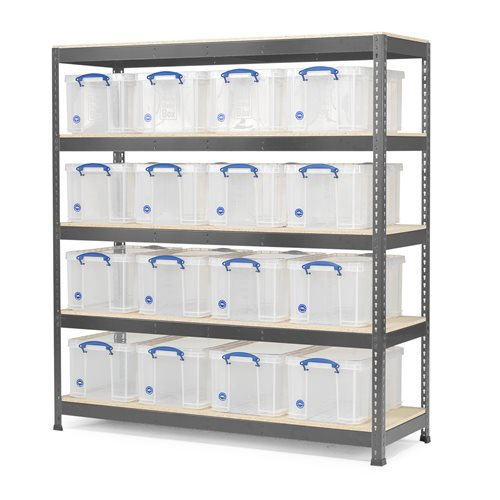 #en Shelf 1 section with 16 plastic boxes