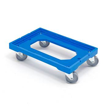 Plastic dollies, 250 kg load, 4 castor wheels, 620x420 mm