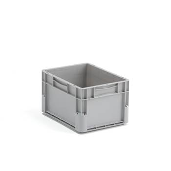 Plastic Euro storage box, 21 L, 400x300x235 mm, grey
