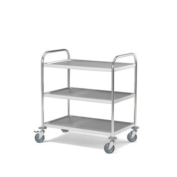 Stainless steel shelf trolley, 100 kg load, 3 shelves, 845x525x950 mm