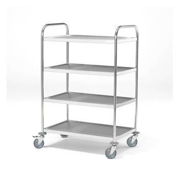 Stainless steel shelf trolley, 100 kg load, 4 shelves, 845x525x1265 mm