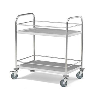 2 shelf stainless steel trolley, rail, 100 kg load, rail, 910x590x940 mm