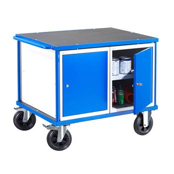 Workshop trolley, 2 cabinets,300 kg load, 875x1000x700 mm