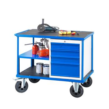 Workshop trolley, 1 drawer unit, 300 kg load, 875x1000x700 mm