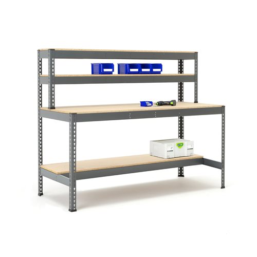 Combo workbench with half bottom shelf