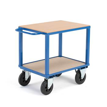 Workshop trolley, no brakes, 2 castor wheels, 600 kg load, 800x600x830 mm