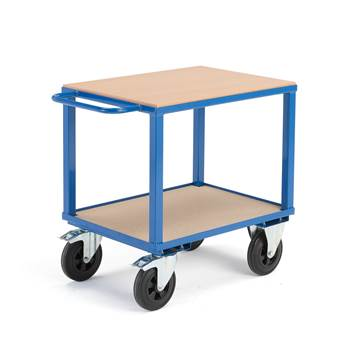 Workshop trolley, brakes, 2 castor wheels, 600 kg load, 800x600x830 mm